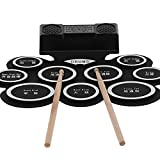 Drum Pad Electronic Drum Pad Set 100‑240V DM10 Roll Up Foldable Drum Kit with 2 Speakers Battery and Speed-adjustable Accompaniments(US Plug 110-240V)