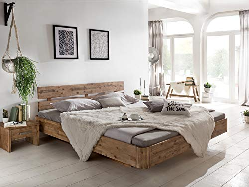 Woodkings® Bett 180x200 Hampden Doppelbett Akazie weiß gebürstet Schlafzimmer Massivholz Design Doppelbett Schwebebett Massive Naturmöbel Echtholzmöbel günstig