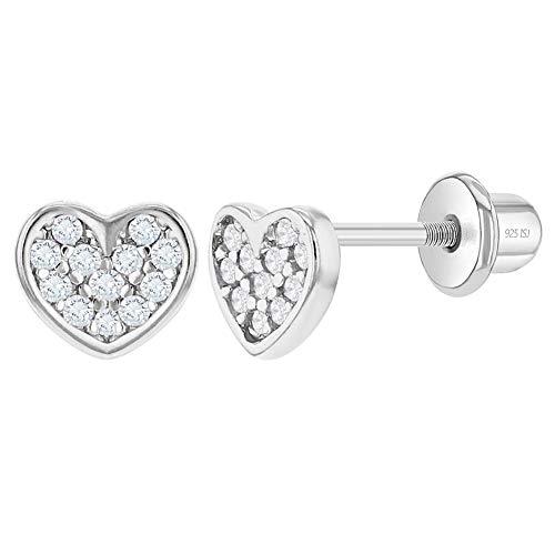 In Season Jewelry Plata Fina 925 Pendientes con Cierre de Rosca en Forma de Corazón con Circonita Transparente para Bebés y Niñas Pequeñas
