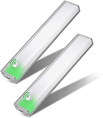 2 Pack Automatic Pantry Light, Wireless Closet Lights Two Motion Sensor Modes Light Battery Operated,USB Rechargeable Under Cabinet Lights, Bedroom Light Bathroom Lighting (Cold white-20cm-2 Pack)