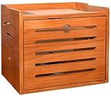 Rack de enrutador Estantes Caja de almacenamiento de madera de pino,estante de 2 niveles de rack Organizer,for enrutador /consolas de juegos/componente de televisión,muebles de madera natural,tira de