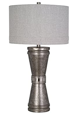 """Catalina Lighting 20706-000 Nolan 31.5"""" Dark Pewter Tapered Base Lamp with Grey Linen Shade and 3-Way Rotary Switch, without bulb, Table"""