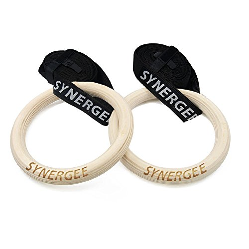 "Synergee 8"" Ring Diameter - 1"" Grip - Wood Olympic Gymnastics Rings with Adjustable Straps for Crossfit Pull Up 