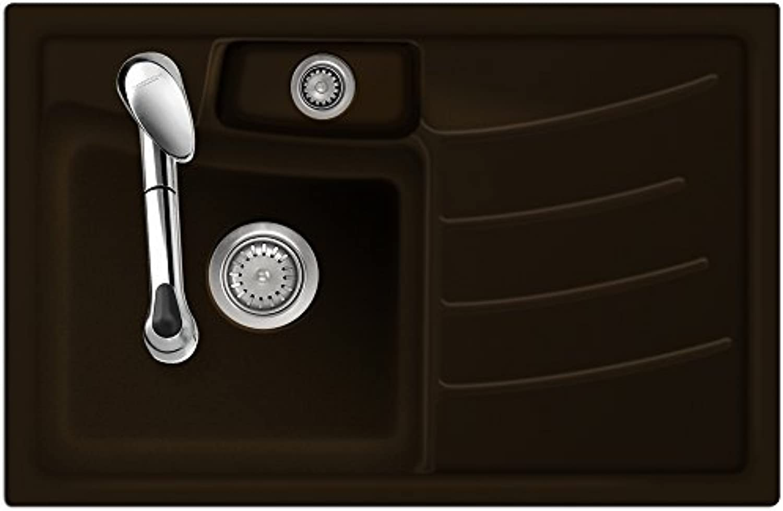 Flchenbündige Spüle VEGA 78F Siena Becken links mit Handbettigung
