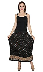 NAKASHI. Womens Cotton Crinkled or Flat Hand Block Printed Long Skirt (NA-CLS-BO300, Black, Large)