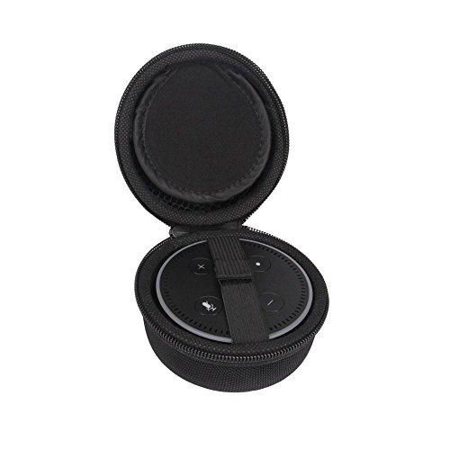 Funda para Amazon Echo Dot y All-New Echo Dot (2ª generación), altavoz Bluetooth portátil Eva a antigolpes, compatible con cable USB y cargador (negro)