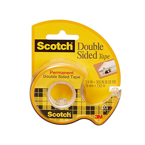 Scotch Double Sided Tape, Permanent, 3/4 in x 300 in, 1 Dispenser/Pack (237)
