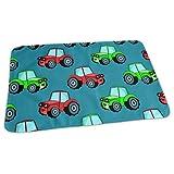 Tragbare Wickelunterlage, wasserfest und wiederverwendbar, 70 x 50 cm, für Wickelwindel, Unisex-Design für Mädchen und Jungen, Auto Traktor, Blau