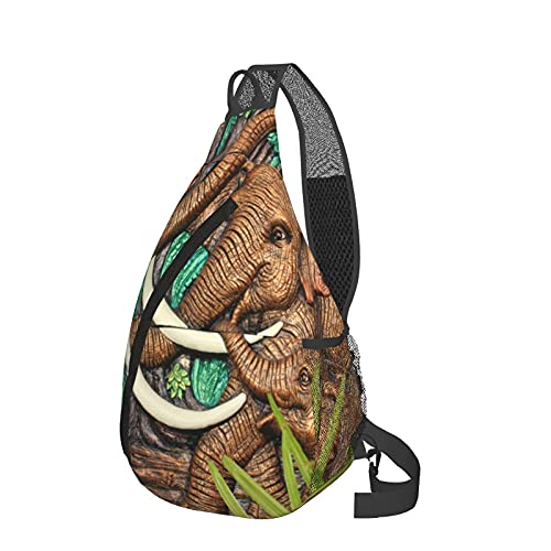 Ancient Elephant Statue Chest Bag Daypack Crossbody Sling Backpack For Travel Hiking