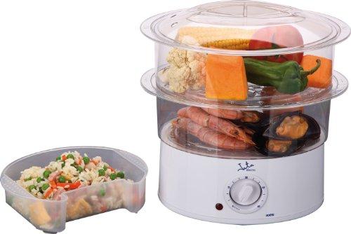 Jata Vapor Vaporera Cocina Sana con 2 Cestas, Capacidad de 3.5 l, Deposito 500 ml, Incluye Recipiente para Arroz o Salsas