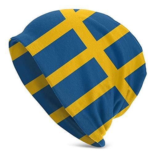 ZhangLinFu Strickmütze Mütze Totenkopfmütze Winter Running Beanie Hut Strickmütze mit schwedischer Flagge zum Wandern Radfahren Gehen