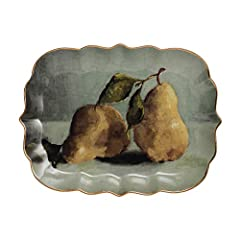 """Unique country pear image Has nice gold electroplating Perfect for a statement piece Has a vintage feel 13""""L x 10""""W"""