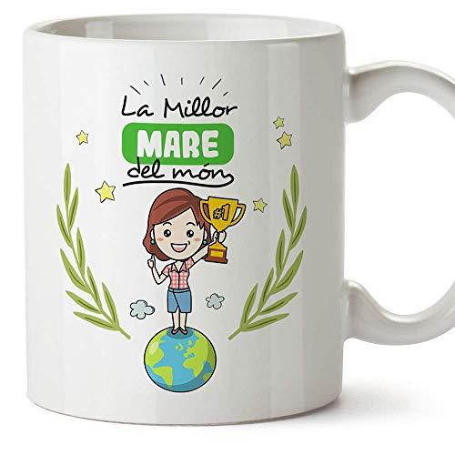 MUGFFINS Taza Madre (En Catalán)'La Millor Mare del Món' Taza Desayuno/Idea Regalo Día de la Madre. Cerámica 350 mL