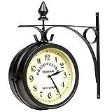 EBTOOLS Reloj de pared de doble cara en diseño retro, 20 cm, doble cara, clásico, reloj de jardín, reloj de estación de tren para decoración de jardín