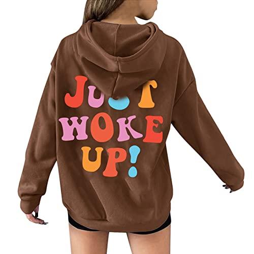 """WANGTIANXUE Sudadera con capucha para mujer y adolescente, con texto en inglés """"Just Work Up Brief"""", para otoño, invierno, ocio, fitness, deporte, manga larga, sudadera, blusa, marrón, L"""