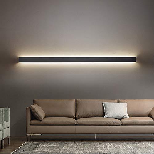 VOMI Moderne Mur Lumière LED Intérieur Applique Blanc Chaud 3000K Lampe Murale Noir Métal Aluminium Luminaire Mural Minimaliste Style Couloir Lumières Décoratives pour Salon Chambre Escaliers,120cm