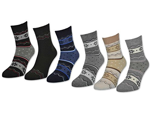 sockenkauf24 6 oder 12 Paar Damen THERMO Socken Softrand Winter Damensocken Baumwolle - 38255 (39-42, 6 Paar | Farbmix)