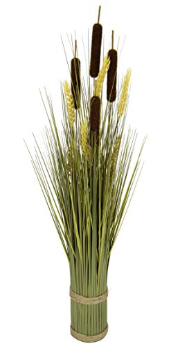 Flair Flower 087718BR Mixed-Grasbund, Polyester, Kunststoff, Bast, Braun, 10 x 10 x 80 cm