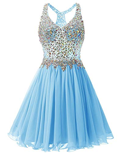 Cdress Short Homecoming Dresses Chiffon Cocktail Prom Gowns Junior Beaded Evening Party Dress Blue US 10