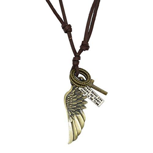 Boolavard® TM - Vintage Hombres ala de águila de Plumas de Ángel Cruz Collar Cadena de Cuero (Incluye Exclusivo