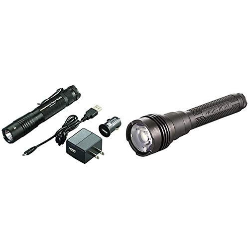 Streamlight 88054 ProTac HL USB 1000 Lumen Professional Tactical Flashlight, Black & ProTac HL 5-X USB - Rechargeable USB Battery, Dual USB Cord and wrist lanyard - Box - 3500 Lumens, Black