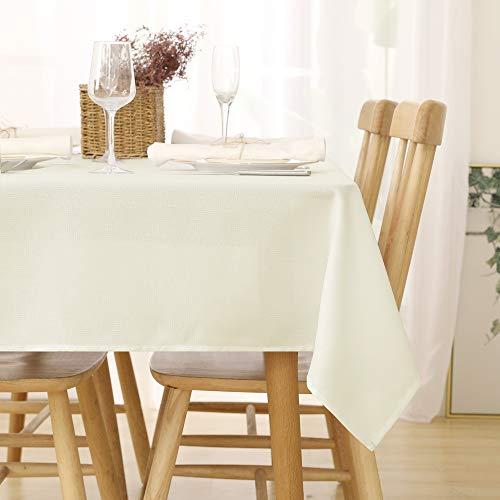 Deconovo Leinenoptik Tischdecke Wasserabweisend Tischdecke Lotuseffekt Tischtuch 130x160 cm Beige
