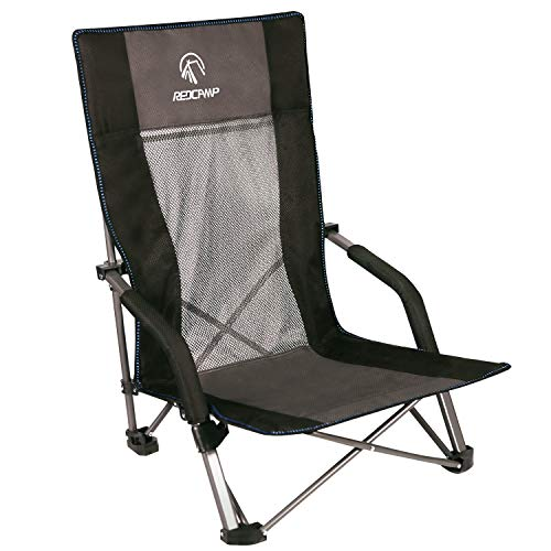 REDCAMP Low Beach Chairs Folding Lightweight with High Back and Headrest, Portable Sand Chairs for Adults Outdoor Concerts Sports Events Camping Backpacking, Black with High Back