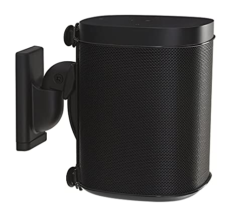 Sanus Wireless Speaker Wall Mount for Sonos ONE - Tool Free Tilt & Swivel Adjustments For Best Audio - Single (black) - WSWM21-B1