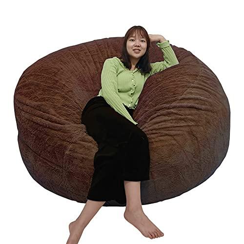 Giant 6 ft krzesło worek fasoli (tylko pokrowiec) dla dzieci i dorosłych, puszyste futro przenośna sofa do salonu łóżko worek fasoli krzesło na zewnątrz (Color : Brown)