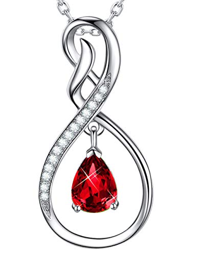 ELDA & CO. Fine Jewelry for Mom Red Garnet Necklace for Women Gifts for Her Anniversary Forever Love Infinity Pendant Sterling Silver