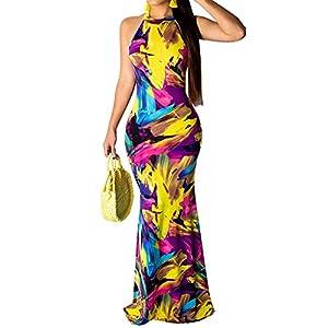 Women's Maxi Long Dress Racerback Tie Dye Ombre Bodycon Mermaid Dress Summer Sundress