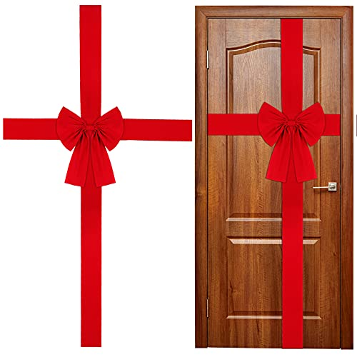 WILLBOND Ruban pour porte d'armoire de Noël - Grand nœud rouge - Couronne de Noël - Nœud pour sapin de Noël - Décoration pour sapin de Noël ou cheminée - Fournitures de fête
