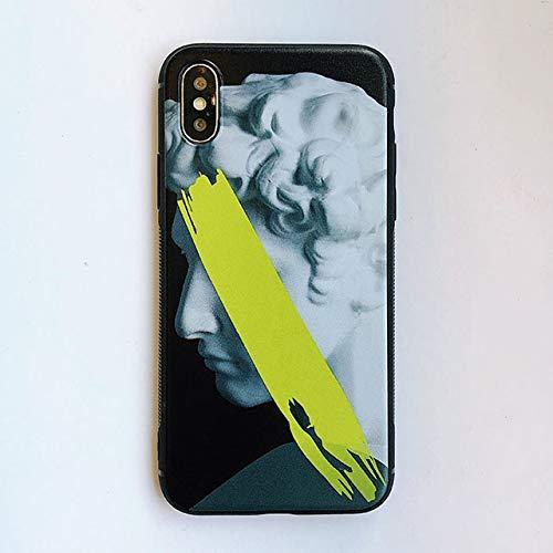 Shoujk Estatua de Arte Pintado Teléfono Ca para iPhone XS Ca Má para iPhone X XR 8 7 S Plus Cubierta Virgen María David Pintura Ca s