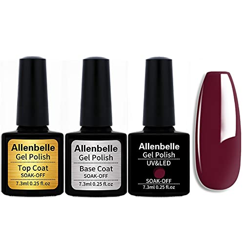 Allenbelle (Base & Top Coat + one colore) Smalto Semipermanente Nail Polish UV LED Gel Unghie Base Coat&Top Coat (Kit di 3 pcs 7.3ML pc) 1345