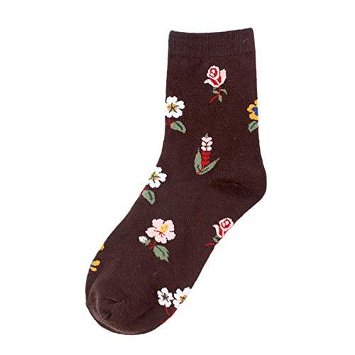 TOUY 5 Paar/Kreative Rosenblüten-Pflanzensocken, Modische Baumwollskateboard-Casual-Socken, Kurze Und Glückliche Streetwear-Socken Für Frauen Und Männer-Kaffee Stieg_Einheitsgröße