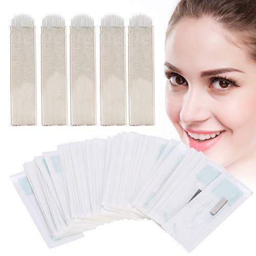 Microblading Naalden Set, 50 stks 12/14/19 Naald Eyeliner Tatoeëren Microblades Permanente Make-Up Blades voor Microblading Benodigdheden(19)