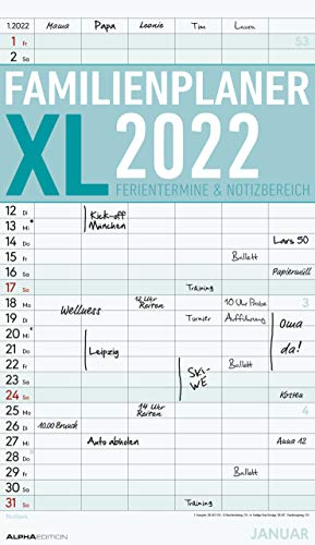 Familienplaner XL 2022 mit 6 Spalten - Familien-Timer 26x45 cm - Offset-Papier - mit Ferienterminen - Wand-Planer - Familienkalender - Alpha Edition