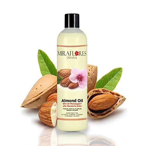 Olio da Massaggi Rilassante alle Mandorle - In Flacone da 500 ml - Ideale per ogni Tipo di Pelle - Indicato Soprattutto per Pelli Delicate, Sensibili e per la Cura del Bambino