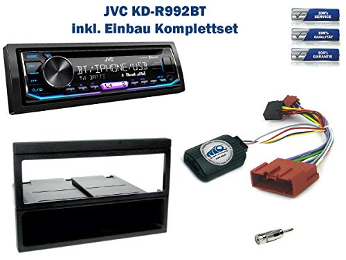 Autoradio Einbauset geeignet für Mazda MX-5 inkl. JVC KD-R992BT & Lenkrad Fernbedienung Adapter in Schwarz