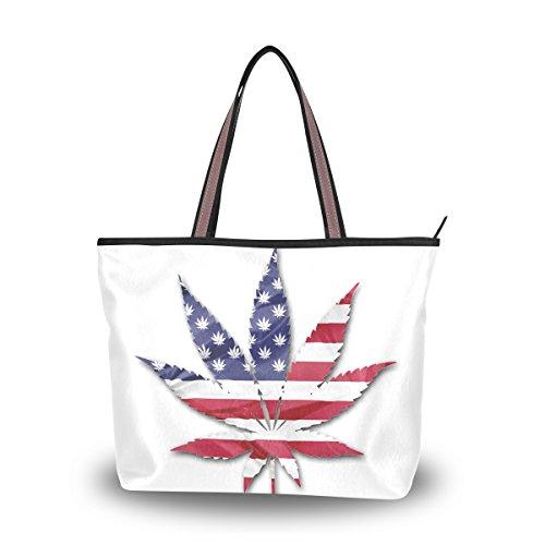 Ahomy - Bolso bandolera con diseño de hojas de marihuana y bandera de los Estados Unidos para exteriores, gimnasio, senderismo, picnic, viajes, playa, color Multicolor, talla L