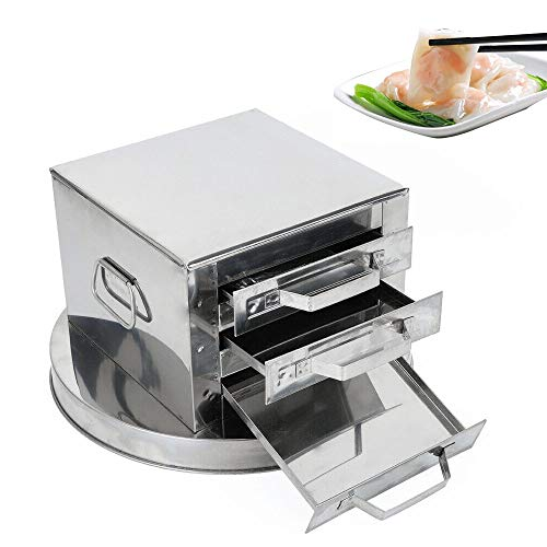 3 Layer Stainless Steel Steamer, Drawer Food Steaming Machine Rice Noodle Rolls Cooker Baking Container for Commercial Home Kitchen Use