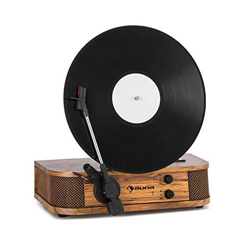 auna Verticalo SE Retro-Plattenspieler, vertikaler Plattenteller, Wiedergabe: 33, 45 und 78 U/min, Bluetooth-Funktion, Stereo-Lautsprecher, MP3-fähiger USB-Port, Line-Ausgang, Holz
