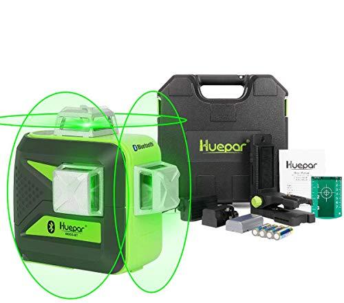 Huepar 3 x 360° Kreuzlinienlaser Laser mit Bluetooth, Umschaltbar Selbstnivellierenden 3D Grüner Laserlinie Laser Level, mit Hard Carry Box - 603BT-H