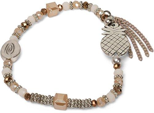styleBREAKER Pulsera de Perlas con piñas, Cadena y Perlas, elástico, Pulsera elástica, bisutería, señora 05040141, Color:Beige-Marrón
