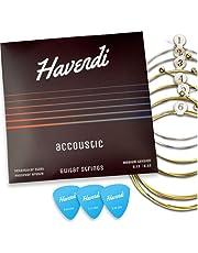 HAVENDI® Premium gitarrsträngar för västerländsk gitarr – briljant ljudkvalitet strängar av stål för akustisk gitarr täckt med fosfor brons (set med 6 strängar) inkl. 3 plektrum
