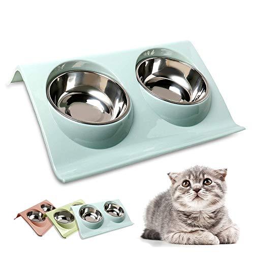 Skrtuan Doppelter Futternäpfe,15 ° Kippbare katzennäpfe,Futterschüssel Katze, Katzenfutter, Katzenfutterschale,Futternapf Katze,Katzennäpfe für Katze Welpe Futter und Wasser
