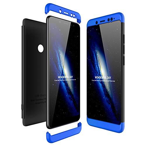Preisvergleich Produktbild JMGoodstore Hülle Kompatibel Xiaomi Redmi Note 5 Pro, +Panzerglas Displayschutzfolie, 3 in 1 Ultra Dünn 360 Full Body Anti-Kratzer Hart PC Skin Glatte Rückseite Bumper Blau+Schwarz