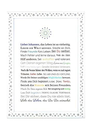 Personalisierbares Geschenk zur Firmung, Erstkommunion, Jugendweihe, Kommunion u. Konfirmation   Bild für Jungen   kreative Verpackung für Geldgeschenk, Kunstdruck, DIN A4, Poster