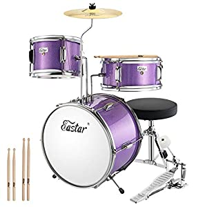 Eastar 14 inch Kids Drum Set 3 Piece with Throne, Cymbal, Pedal & Drumsticks,Metallic Purple (EDS-180Pu)