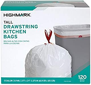 Office Depot 0.9-mil Drawstring Trash Bags, 13 Gallons, White, Box Of